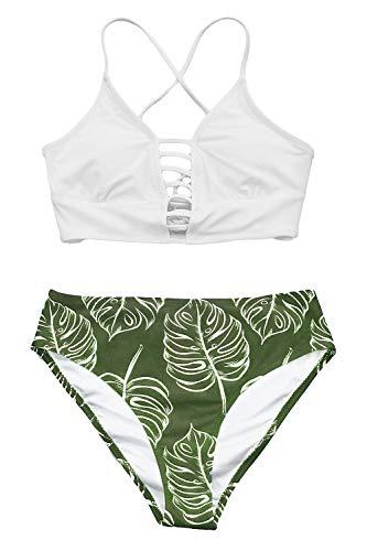 CUPSHE Damen Bikini Set mit Zierriemen Cut-Out Bademode Zweiteiliger Badeanzug Weiß/Grün XXL