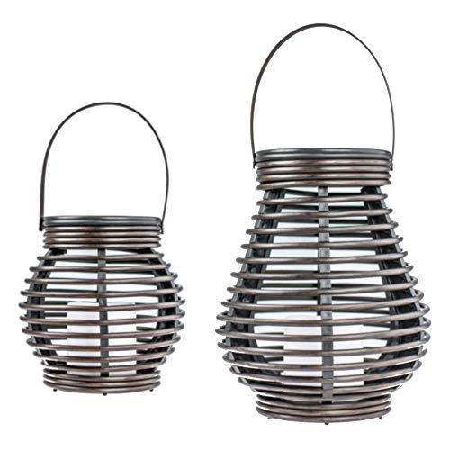 Monsterzeug LED Laternen Duo, spritzwassergeschützte Solarleuchte in Zwei Größen, Deko Windlichter Rattan Optik