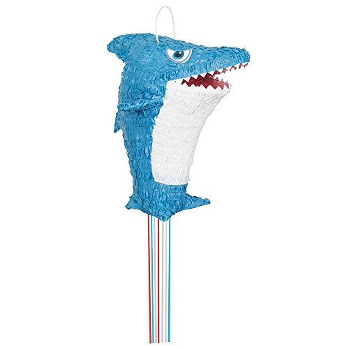 Unique Party- Piñata tiburón para tirar, Color azul (65989)