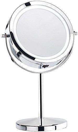 Sichler Beauty LED Spiegel: Stand-Kosmetikspiegel mit 18 LED, 3-fache Vergrößerung (Tischspiegel)