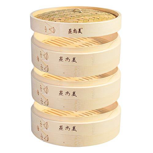 Hcooker 3 Capas de Cocina Cesta de Vapor de Bambú para Cocinar Asiático Bollos Empanadillas Verduras Pescado Arroz