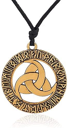AMOZ Collares, Joyas, Utilizados para Runas Nórdicas Colgante Vikingo Collares Triple Cuerno Círculo Escandinavo Trinity Declaración Collar Hombres Valknut Amuleto