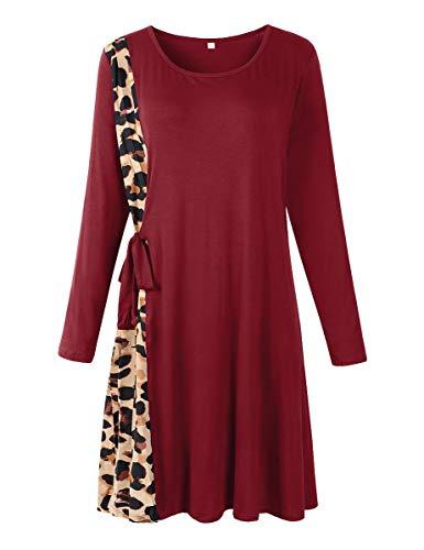 LARACE Leopard Tshirt Dress Plus Size Dresses for Women Long Sleeve Pleated Strappy Swing Tunic Dress(Wine Red 1X)