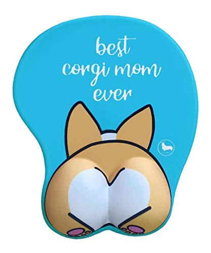 3D Corgi Butt Shape Best Corgi Mom Ever Silicone Mouse Pad Mouse Mat-8.6X10Inch