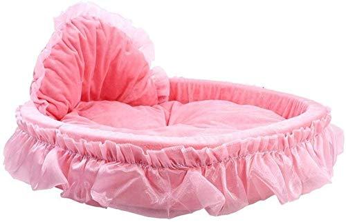 Ciambella cyclus kussen voor honden en katten comfortabele verwarming om te slapen beter slaapbank voor puppy's prinses roze violet huis van kant, klein, warm, zacht fleece voor huisdieren met ademend katoen voor katten, L, PINK