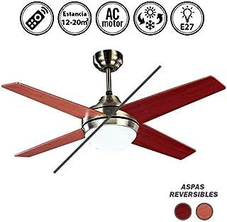 Ventilador de techo con luz Cuero/Cerezo-Nogal Serie Eolo