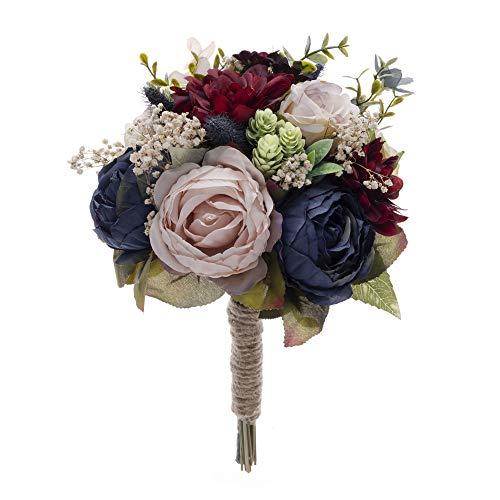 Bridals By Ada Melpomene Wedding Bouquets for Bride, Wedding Handmade Roses Artificial Flowers, Wedding Bouquets for Bridesmaids, Rustic Wedding Theme (Dark Blue/Burgundy/Blush Pink)