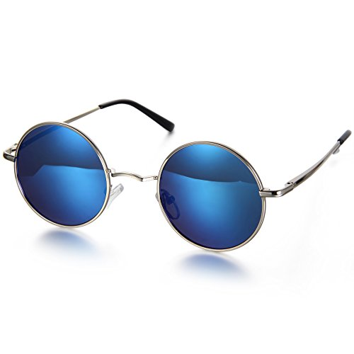 Aroncent Gafa de Sol Polarizada Retra contra UV400 Lente Redonda de Resina Protección de Ojos para Carreras, Viaje, Conducción, Golf, y Actividades Exteriores para Hombre Mujer Unisex (Azul)