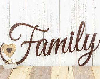 Rea66de Holzschild, Familienschild aus Holz, mit Schriftzug Family, Wanddekoration, rustikal, für den Außenbereich, Lasergeschnittenes Schild, Kupferadern