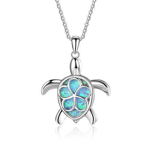 YAZILIND Cute Animal Sea Turtle Opal Necklace Pendant 925 Sterling Silver Fashion Blue Gem Clavicle Chain for Women Girls
