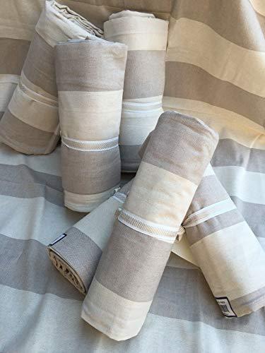 L'EMPORIO CASA Granfoulard - Funda para sofá a rayas, multiusos, de algodón, para cama de matrimonio, fabricada en Italia (360 x 280 cm)