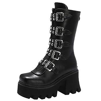 Waucuw Women s Zip Studded High Heel Platform Boots  7.5 Black