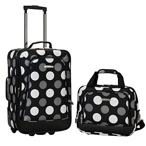 Rockland Fashion Softside Upright Luggage Set, New Black Dot, 2-Piece (14/19)