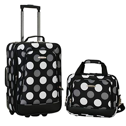 Rockland Fashion Softside Upright Luggage Set, New Black Dot, 2-Piece (14/20)