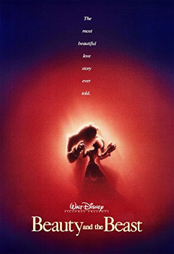 Movie Poster Beauty and The Beast (1991) - Silhoutte - 13 in x 19 in Flyer Borderless + Free 1 Tile Magnet