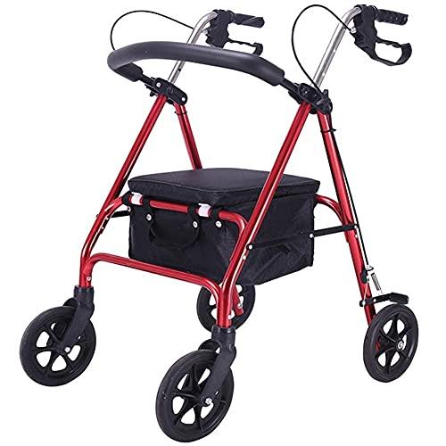 FGVDJ Andador Vertical Plegable, Andador con Ruedas, Carrito de Compras para Ancianos, Carro, se Puede sentar sobre Cuatro Ruedas, Andador Plegable para Ancianos Lige