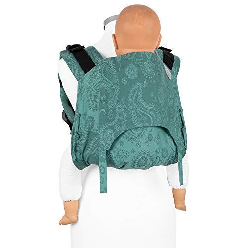 Fidella Onbuhimo Rückentrage für Kinder I Ideal während der Schwangerschaft I Babytrage aus 100% Bio Baumwolle I Tragerucksack mit Sicherheitsschnalle I Grün