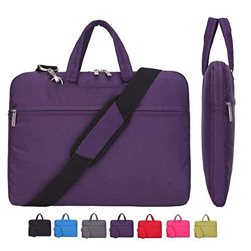 Laptop Case, Laptop Shoulder Bag, CROMI Simplicity Slim Lightweight Briefcase Commuter Bag Business Sleeve Carry Hand Bag Nylon Waterproof Notebook Shoulder Messenger Bag (Purple, 13.3 inch)