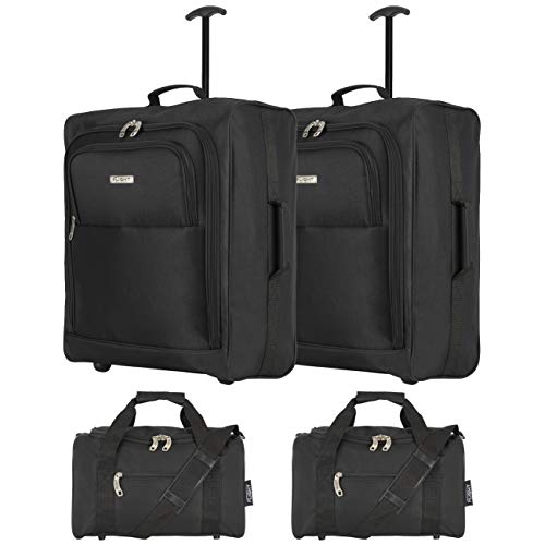 Flight Knight easyJet Maximum Set of 2 Cabin Suitcase 56x45x25cm and Carry On Hand Luggage British Airways, Jet2 Largest Cabin Size Approved