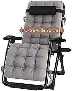 DQCHAIR Silla reclinable para Actividades al Aire Libre con Gravedad Cero y portavasos, Silla Extra Ancha y Ajustable para tumbonas de Patio Garden Beach Beach, con Cojines de 200 kg (Color : Black)