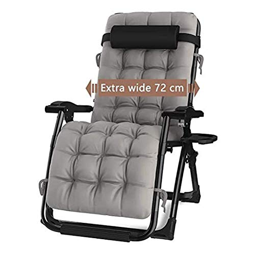 DQCHAIR Outdoor Reclining Zero Gravity Chair with Cup Holder, Extra Wide Adjustable Lounger Chair for Patio Garden Beach Pool, With Cushions Support 200kg (Color : Black)