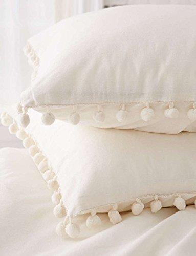 Pom-Fringe Sham Set Cotton Pillo...