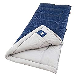 A Coleman Brazos sleeping bag, one of the more popular models used by campers.
