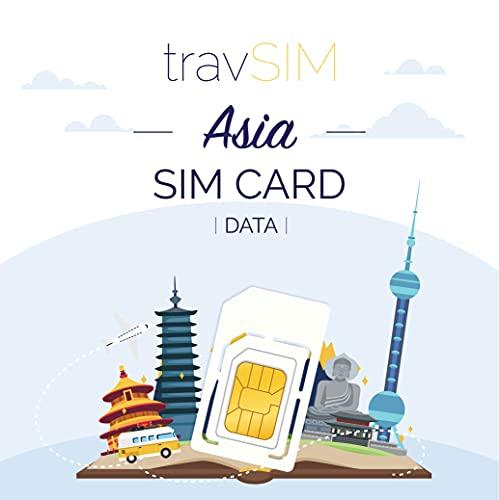 travSIM - Carta SIM Prepagata Asiatica(SIM Dati per l Asia) - 1GB di Dati Mobili da utilizzare in Asia Valido per 30 Giorni - la Carta SIM Funziona in oltre 15 Paesi