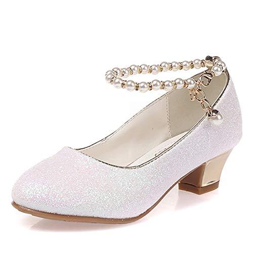 Qianliuk Kinder Niedrigen Ferse Schuhe Für Mädchen Party Schuh Perlen Hochzeit Schuhe Kinder Leder Prinzessin Schuh Rosa Weiß