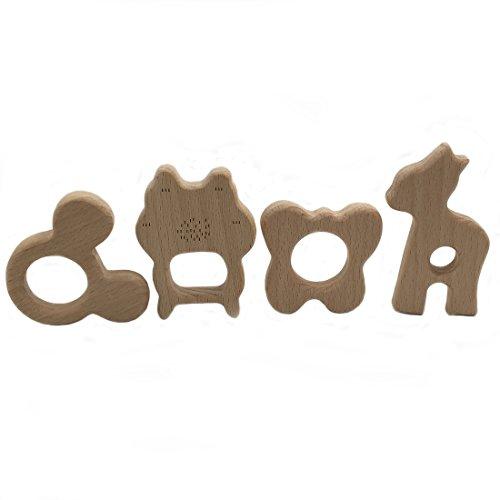 Coskiss 4pcs DIY Wood Butterfly Alpaca Mickey Mouse Kitty Cat Bébé Teether Nursing Baby Teething Toy Jouets de jouets organiques pour dents de bébé Jouets faits à la main Cadeaux en bois pour dents en bois (4pcs)