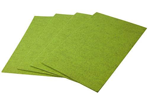4X Filz-Kult Tischsets, apfelgrün-meliert, 90° Ecken, Tischset, Platzsets, Platzmatte, 4-5mm starker Filz, Untersetzer 30x45cm, Tischmatten