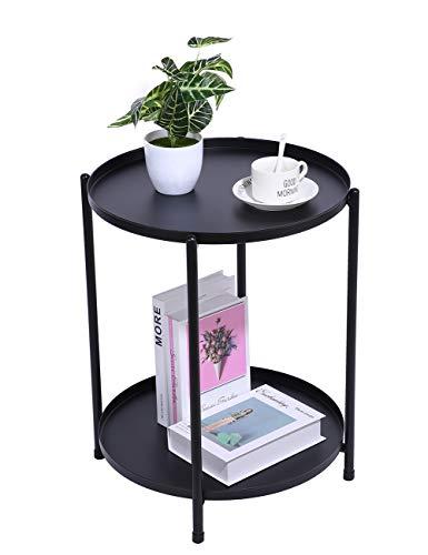H JINHUI Mesa auxiliar redonda de metal con doble nivel, bandeja extraíble, sofá mesa de aperitivo lateral, mesa de noche para aperitivos al aire libre e interior, mesa de café(negro)