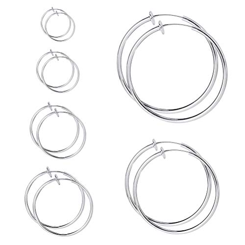 kuou 6 Pairs Hoop Clip On Earrings, Fake Earrings Hoop Lip Ear Clip Non Piercing Earrings Set for Women, Different Sizes