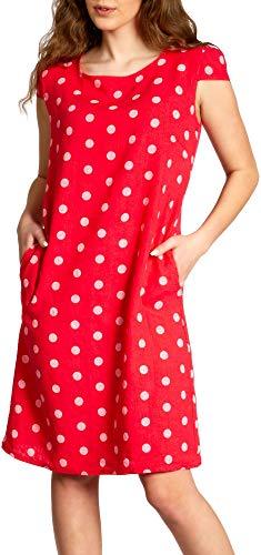 Caspar SKL024 knielanges Damen Sommer Leinenkleid mit Punkte Print, Farbe:rot, Größe:L - DE40 UK12 IT44 ES42 US10
