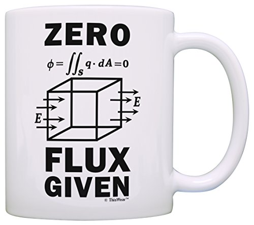 Science Nerd Gifts for Adults Zero Flux Given Gauss Law Physics Science Teacher Gifts Funny Science Gift Electrostatics Gift Coffee Mug Tea Cup White