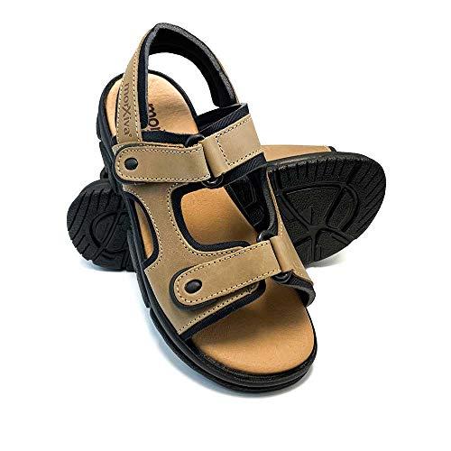 ZAPATISIMOS - Hombres-Mujeres, Sandalias Senderismo, Cómodo Ajustable, Todo Piel. Capas de Velcro, al Aire Libre, Senderismo, Zapatos de Playa.
