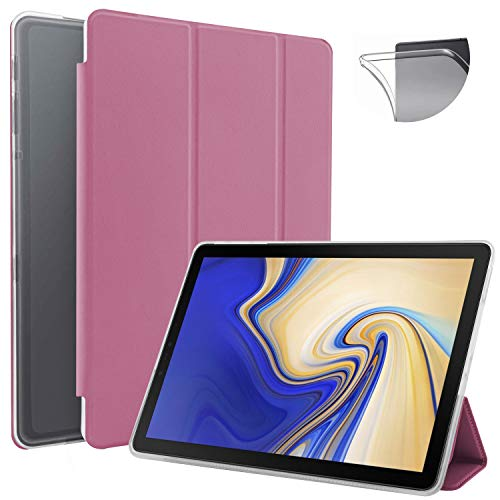 N NEWTOP Cover Compatible for Samsung Galaxy Tab S4 10.5' T830-T835, Flip Smart Book Case TPU Back Front Ultra Thin Lightweight Stand Holder Wake/Sleep Function Faux Leather (Fuchsia)