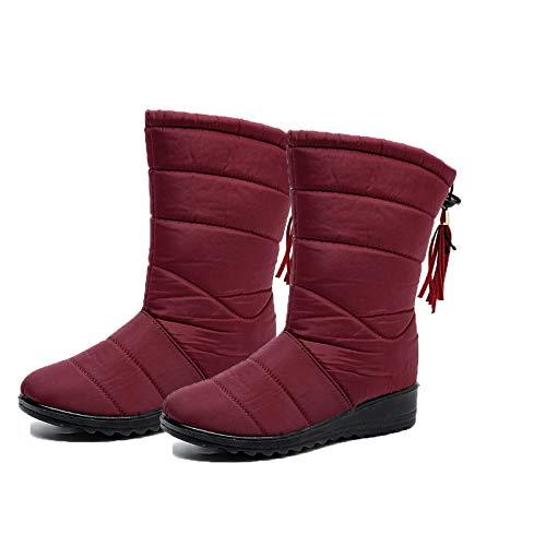 Warm Women Winter Boots, Women's Knee High Shoes Snow Boots, Ladies's Waterproof Fur Lined Frosty Warm Anti-Slip Boot, Female Winter Snow Booties Outdoor Footwear(1 Pair) Red 39