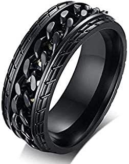 Black Men's Ring with Chain Size 11