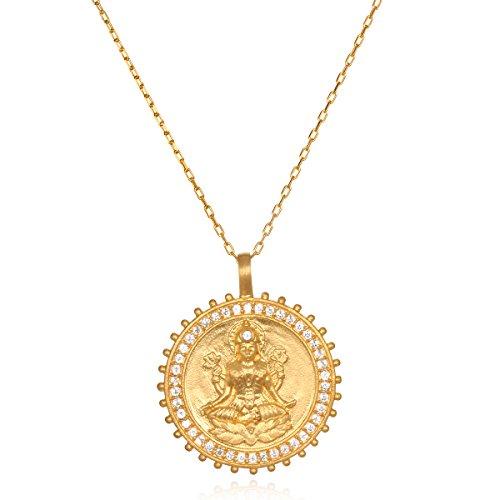 Satya Jewelry Womens White Topaz Gold Lakshmi Pendant Necklace 30-Inch, One Size