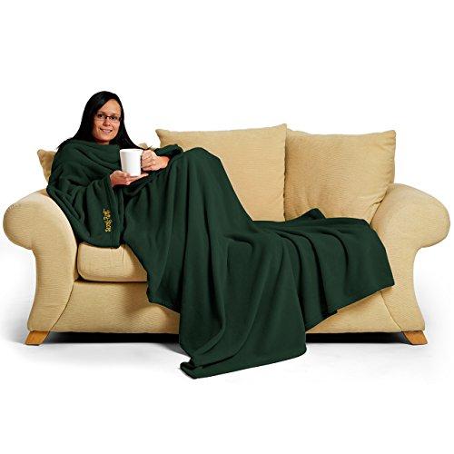 Snug Rug - Coperta con Maniche Deluxe per Adulti, 214 x 152 x 1 cm, Colore: Verde