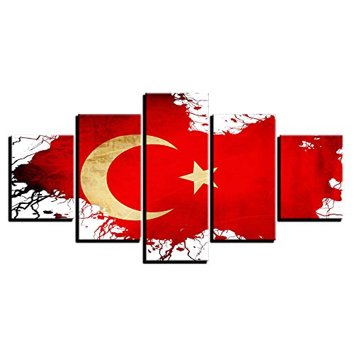 VGFGI 5 Stücke der türkischen Flagge Bilder schöne Landschaft HD Leinwand Kunst Malerei für Wohnzimmer Wanddekoration
