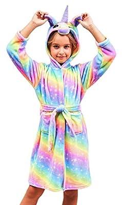 Soft Unicorn Hooded Bathrobe Sleepwear - Unicorn Gifts for Girls (5-6 Years, Bright Rainbow)