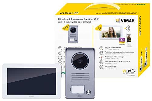 Vimar K40945 - Kit de videoportero inteligente monofamiliar con monitor táctil manos libres WiFi, placa audiovideo 1 botón con marco protector de lluvia, 1 fuente de alimentación multienchufe