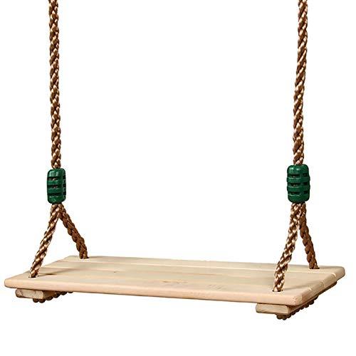 Dough.Q Holz Schaukelsitz, Erwachsene Kinder Garten Schaukel für Innen und Außenbereich mit Einstellbares Seil bis 150 kg