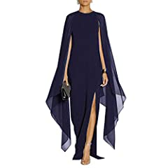 Material:the torso is Polyester+Spandex, and the sleeves are in crepe fabric. Stretchy and Upper Middle Quality. The evening maxi dresses feature Long flared cape sleeves,Front slit to left thigh,stretch fabric with Lining, PULLOVER Design, No zip in...