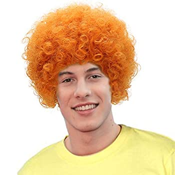 Orange Curly Anime Cosplay Wig-Man Synthetic Role Play Hair Wigs for Party Costume Halloween