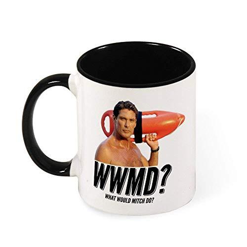 Jupsero Baywatch What would Mitch Do David Hasselhoff taza de café de cerámica taza de té regalo para mujeres niñas esposa mamá abuela 11 oz
