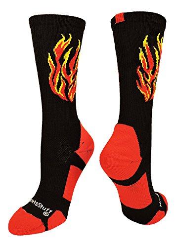 MadSportsStuff Flame Athletic Crew Socken (mehrere Farben), Jungen, Schwarz/Rot/Gold, Small