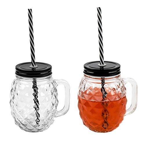3d Piña Cristal–Vaso con tapa y pajita sólida 500ml 2Unidades)